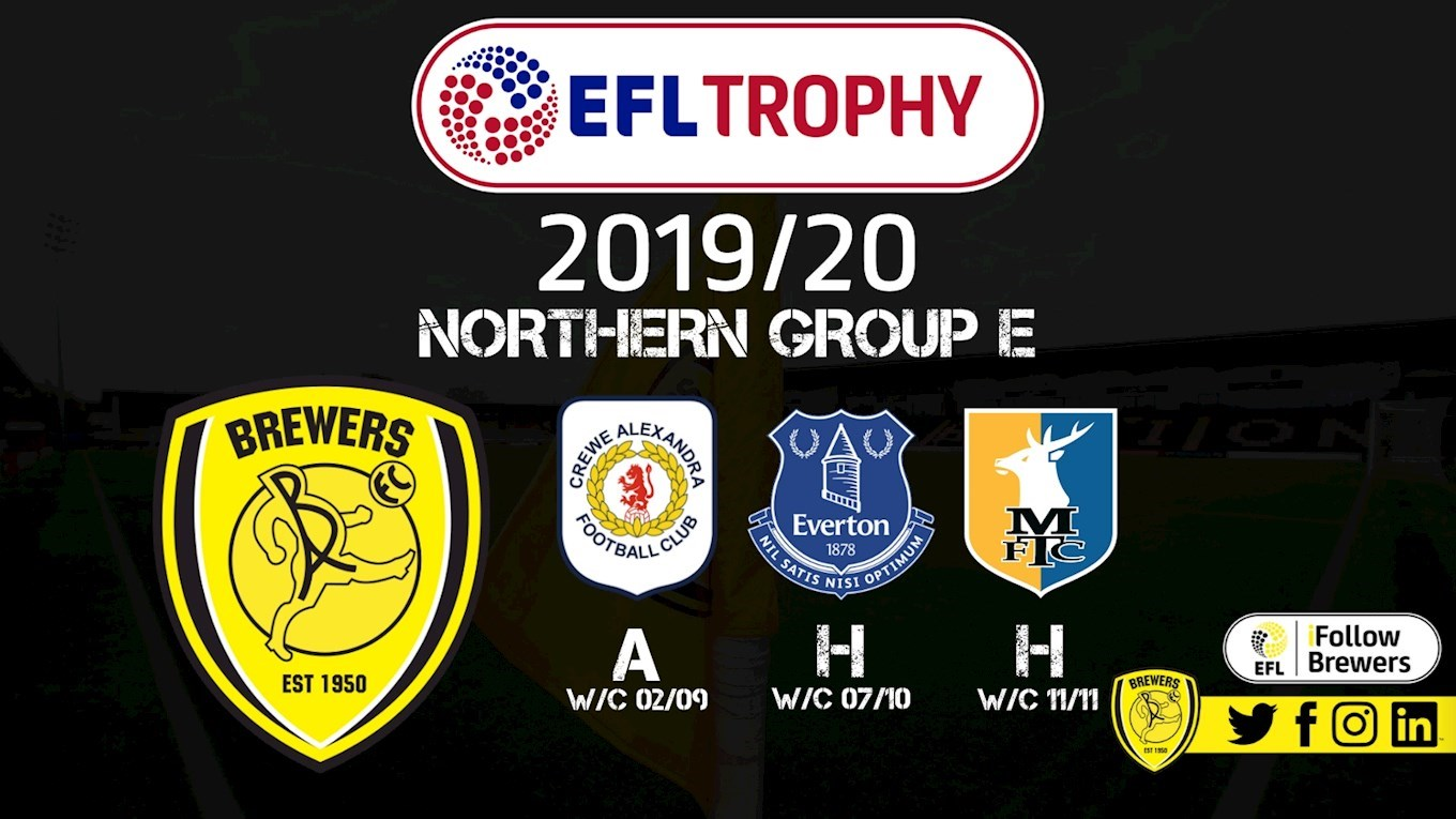 BREWERS TO FACE EVERTON UNDER 21S IN EFL TROPHY - News ...
